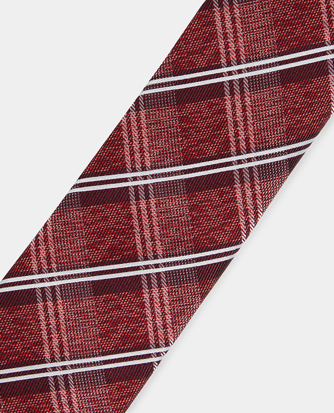 Checked Pure Silk Narrow Tie