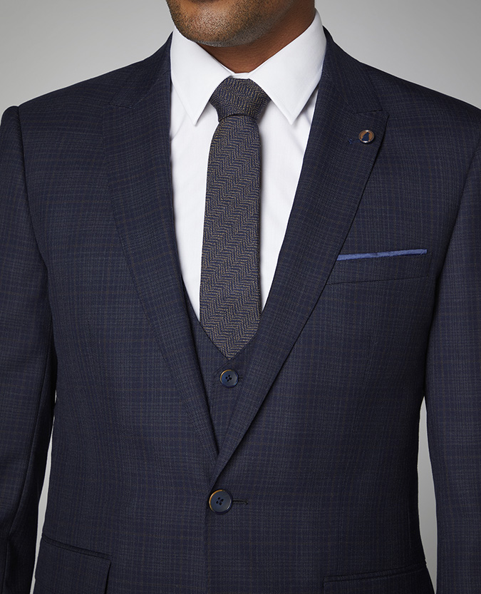 Herringbone Wool-Silk Narrow Tie