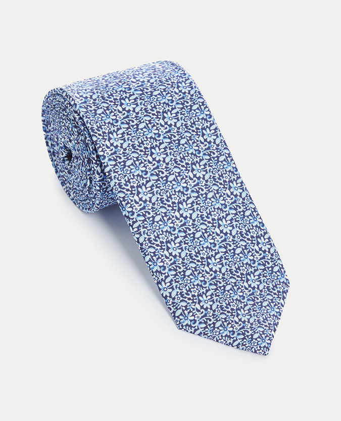 Cotton-Silk Floral Narrow Tie