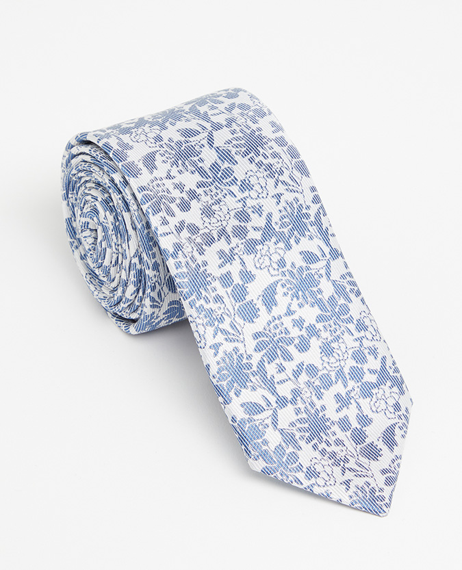 Floral Pure Silk Narrow Tie