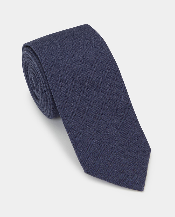 Herringbone Cotton-Linen Tie
