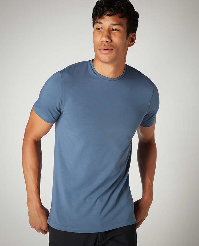 Tapered Fit Cotton-Stretch T-Shirt