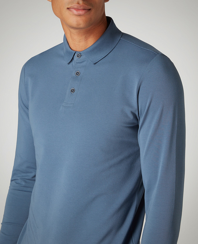 Tapered Fit Cotton-Stretch Polo Shirts