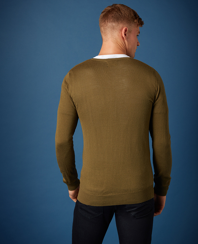 Tapered Fit Merino Wool-Blend V-Neck Sweater