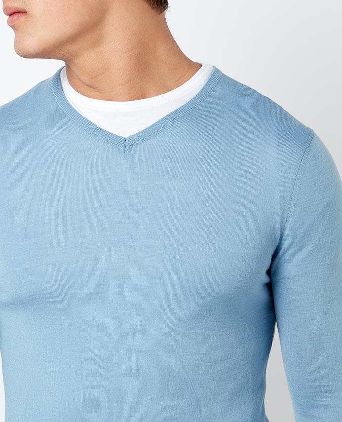 Slim Fit Merino Wool-Blend V-Neck Sweater