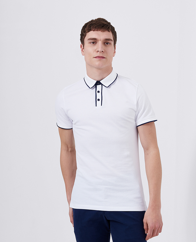 e4d9991e9ee2a Tapered Fit Cotton-Stretch Pique Polo Shirt