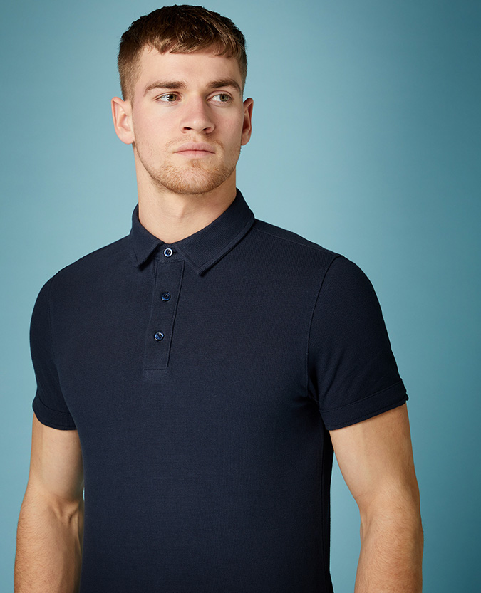 Tapered Fit Cotton Polo Shirt