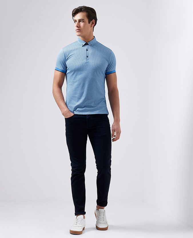 Tapered Fit Printed Cotton-Blend Polo Shirt
