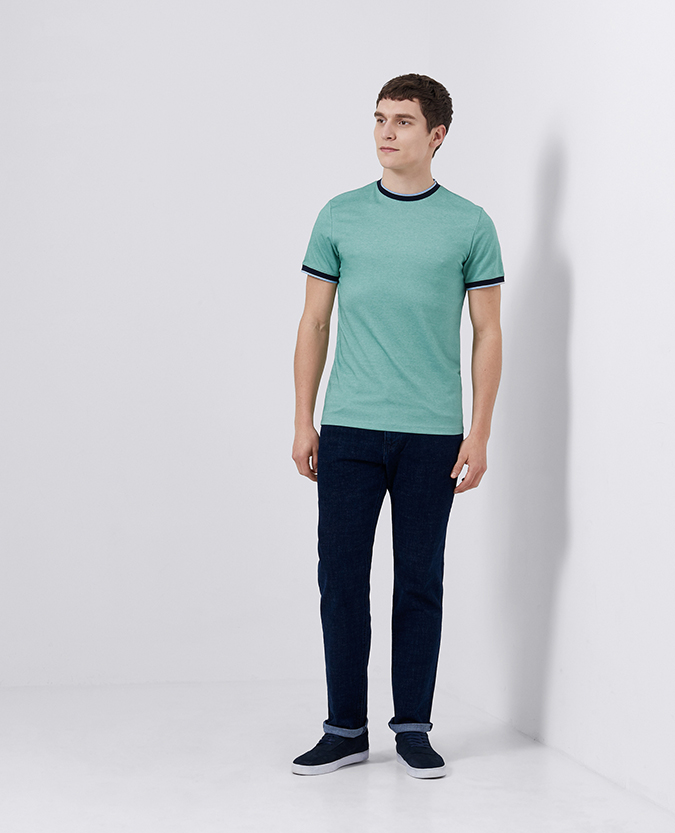Tapered Fit Cotton-Blend Pique T-Shirt