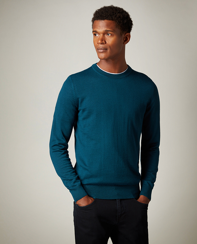 Slim Fit Merino Wool-Blend Crew Neck Sweater