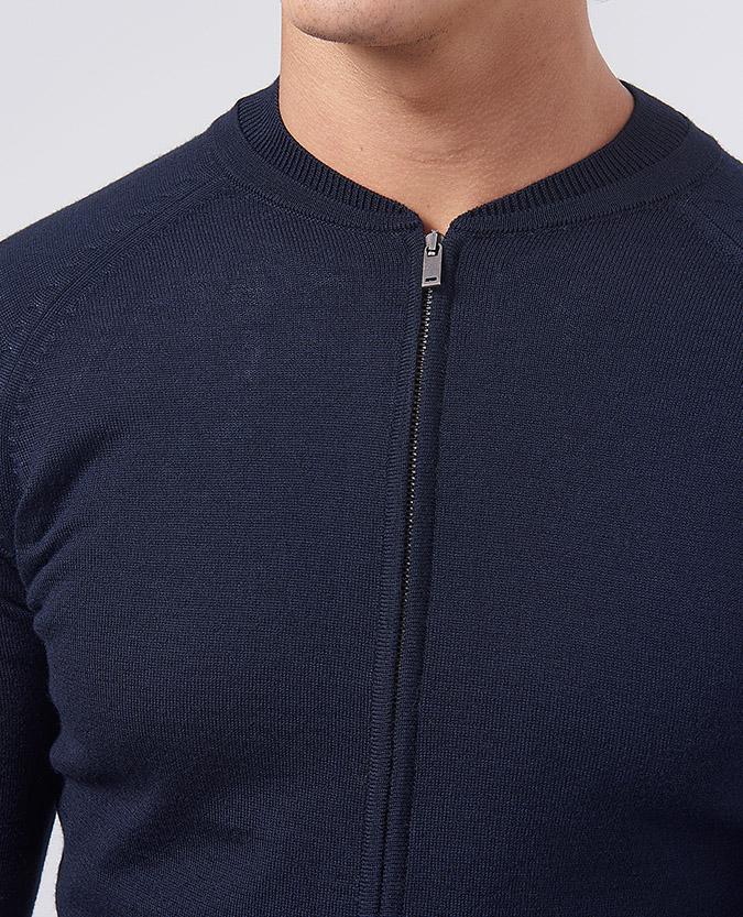 04280fd9cf Tapered Fit Merino Wool-Blend Full-Zip Sweater / Remus Uomo