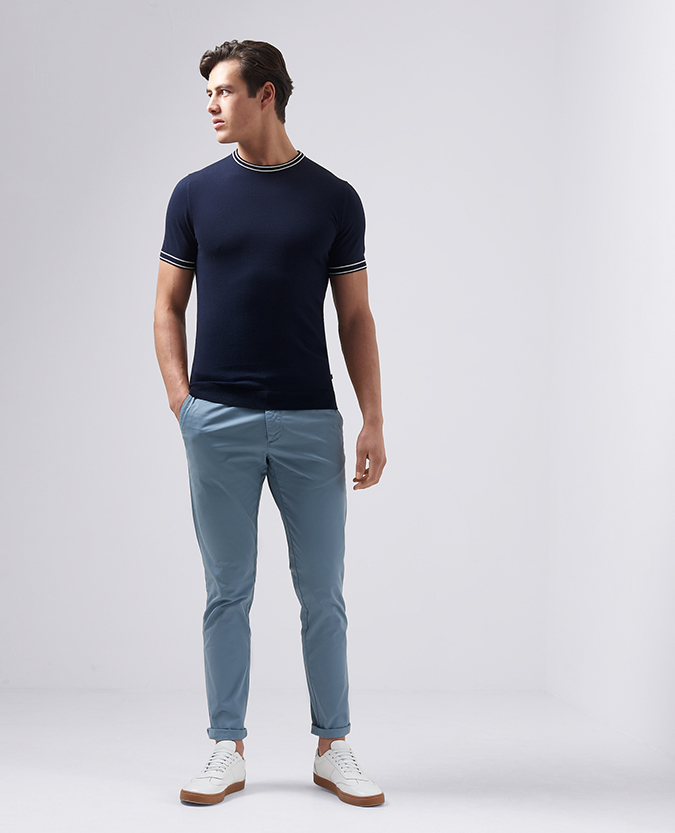 Slim Fit Knitted Cotton T-Shirt