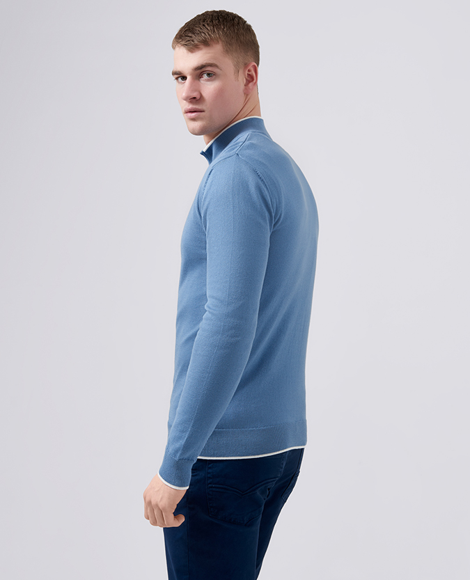 Slim Fit Knitted Cotton Half Zip Sweater