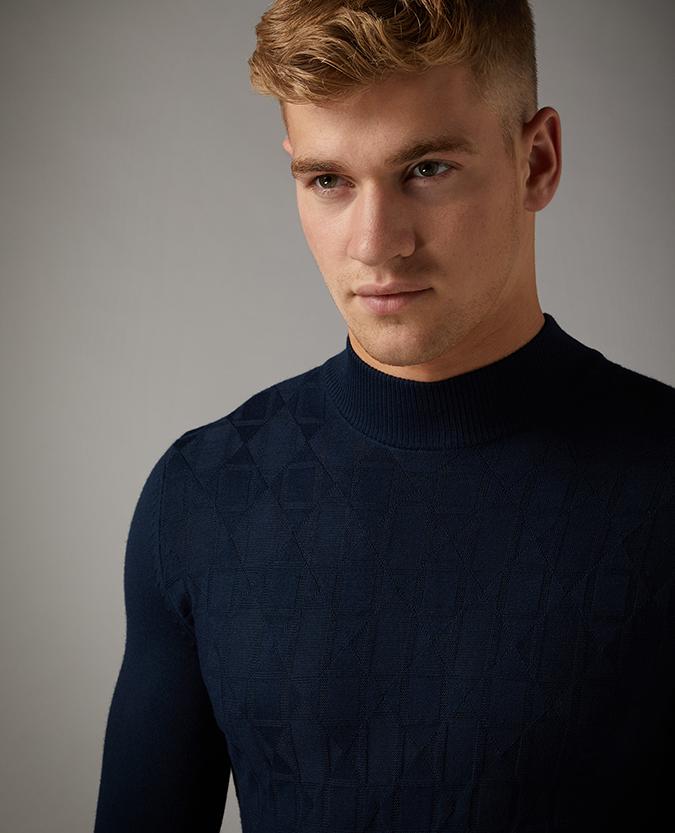 Slim Fit Merino Wool-Blend Turtle Neck Sweater