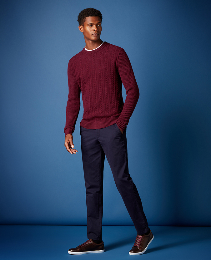Tapered Fit Wool-Rich Crew Neck Sweater