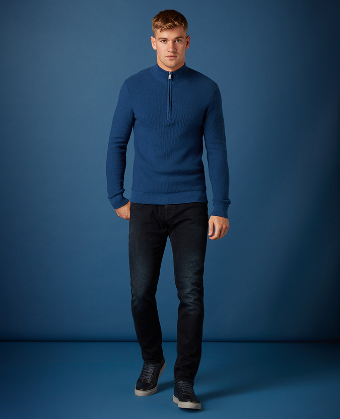 Tapered Fit Cotton-Rich Half Zip Sweater