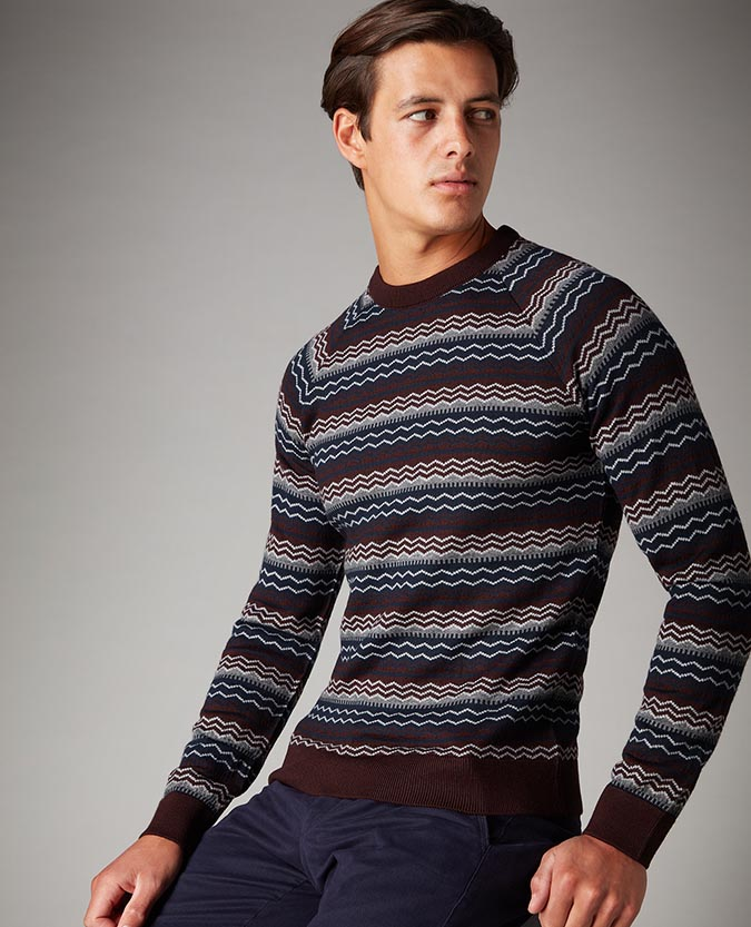 Slim Fit Merino Wool-Blend Fair-Isle Sweater