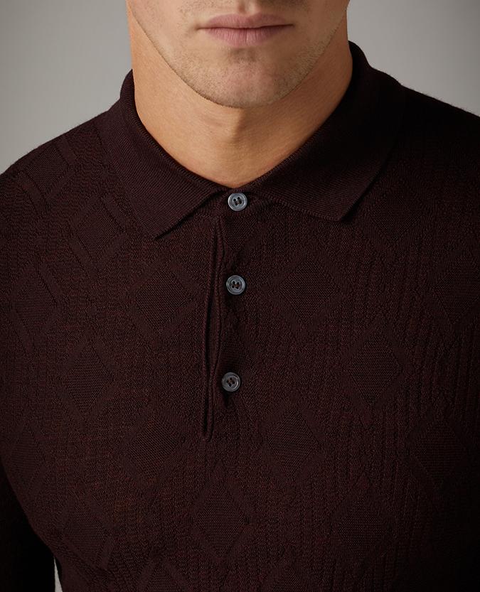 Slim Fit Merino Wool-Blend Long Sleeve Polo Shirt / Remus Uomo