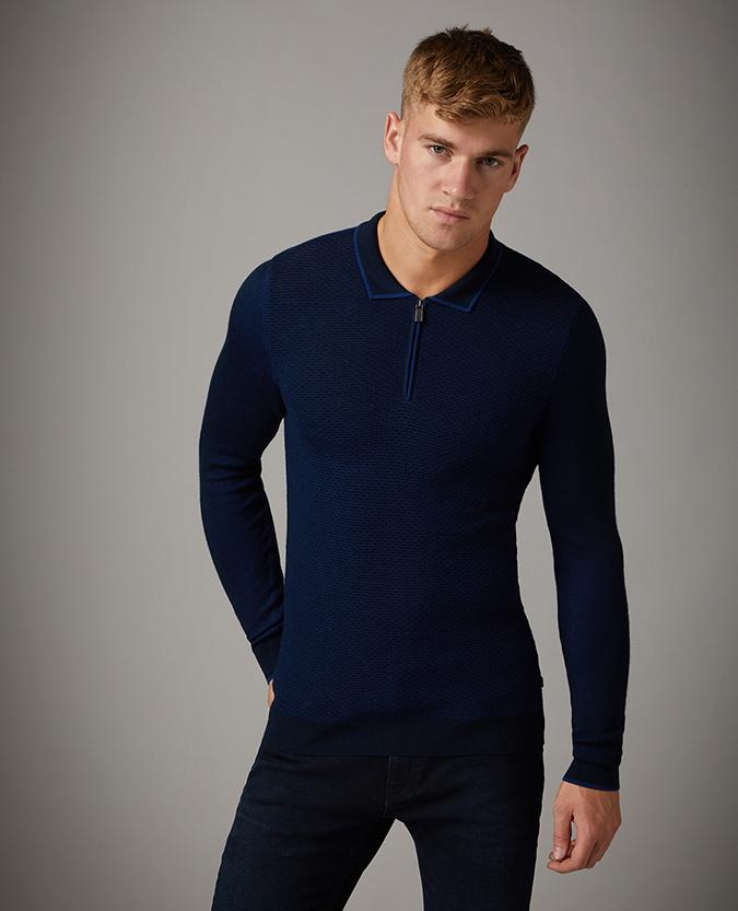 Slim Fit Merino Wool-Blend Long Sleeve Polo Shirt