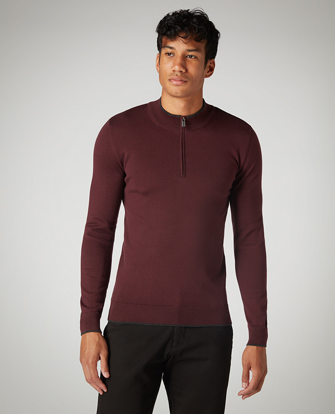 Slim Fit Cotton-Blend Half-Zip Sweater