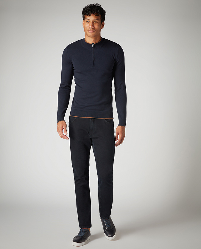 Slim Fit Merino Cotton-Blend Half-Zip Sweater