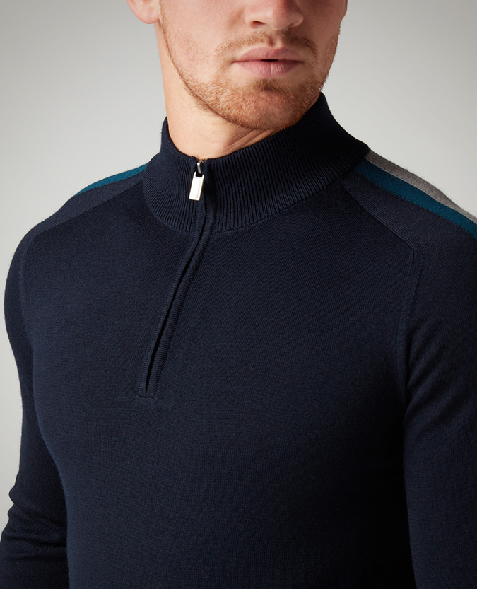 Slim Fit Merino Wool-Blend Half-Zip Sweater