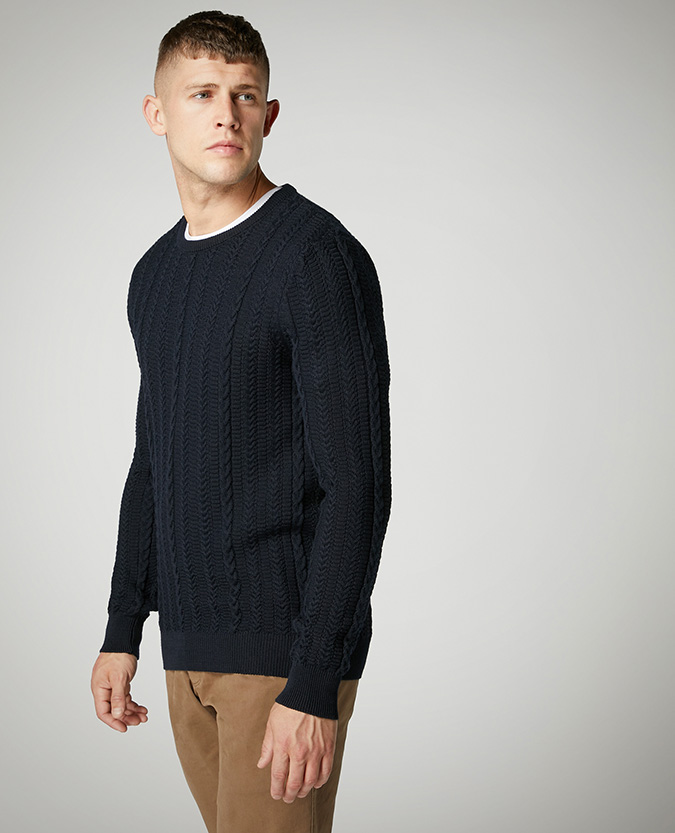 Tapered Fit Merino Wool-Blend Sweater