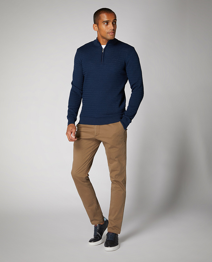 Tapered Fit Merino Wool-Blend Half-Zip Sweater