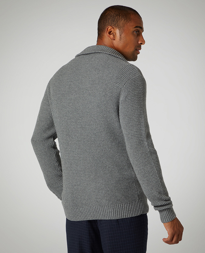 Tapered Fit Cotton-Blend Half-Zip Sweater