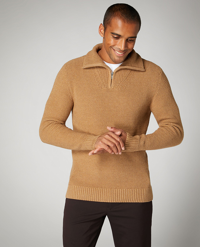 Tapered Fit Merino Cotton-Blend Half-Zip Sweater