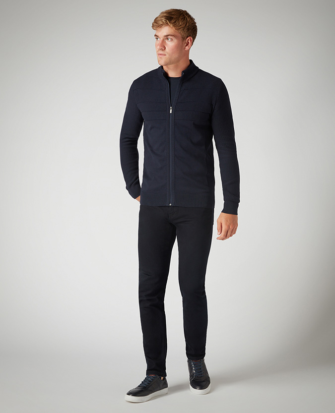 Slim Fit Cotton-Blend Full-Zip Sweater