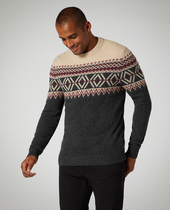 Tapered Fit Fair-Isle Wool-Blend Sweater