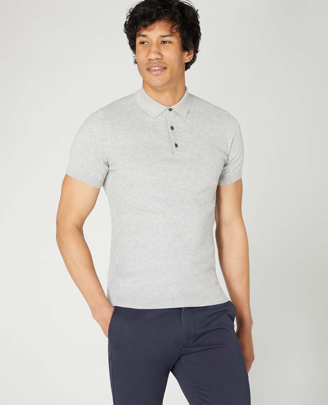 Slim Fit Knitted Cotton Short Sleeve Polo Shirt
