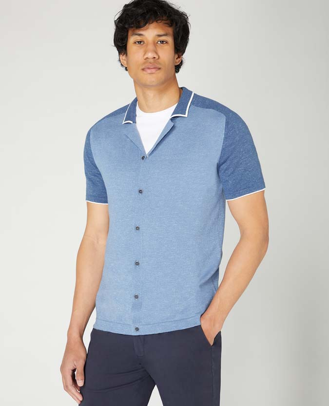 Slim Fit Knitted Cotton Short Sleeve Shirt