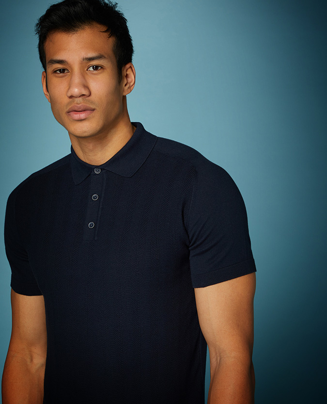 Slim Fit Knitted Cotton Polo Shirt