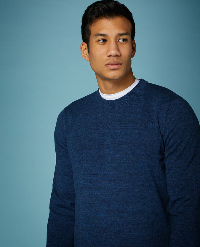 Slim Fit Knitted Cotton Crew Neck Sweater