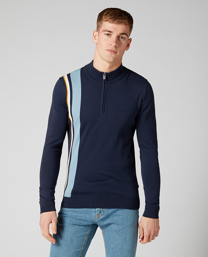 Slim Fit Knitted Cotton Half Zip Sweater
