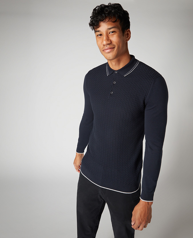 Slim Fit Cotton-Blend Long Sleeve Polo Shirt
