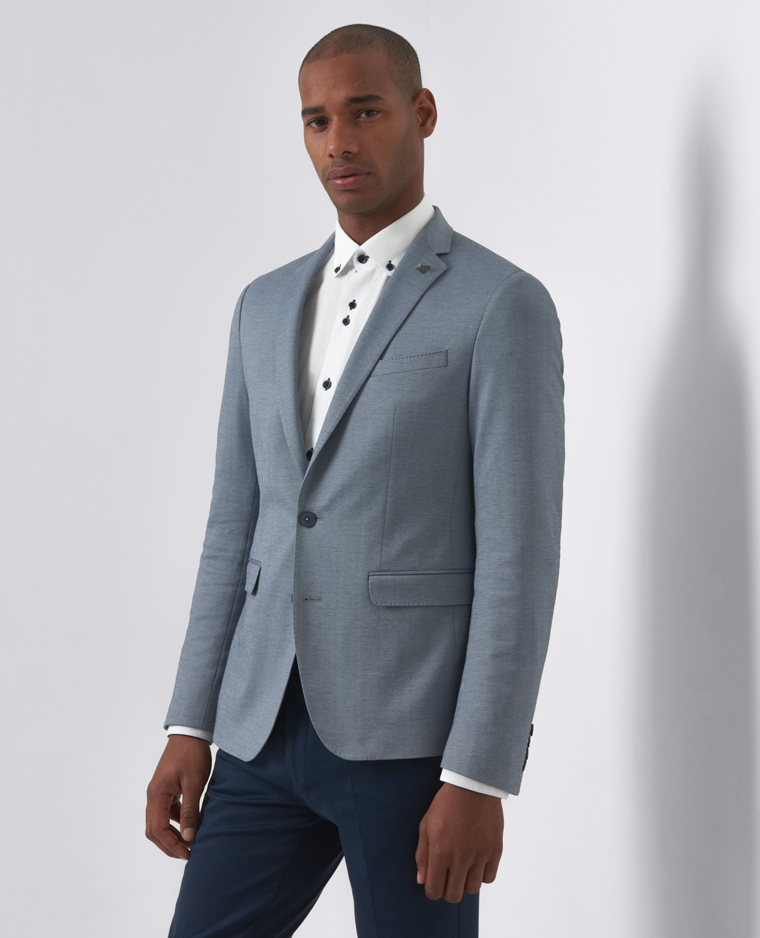 Slim Fit Cotton-Blend Casual Suit Jacket