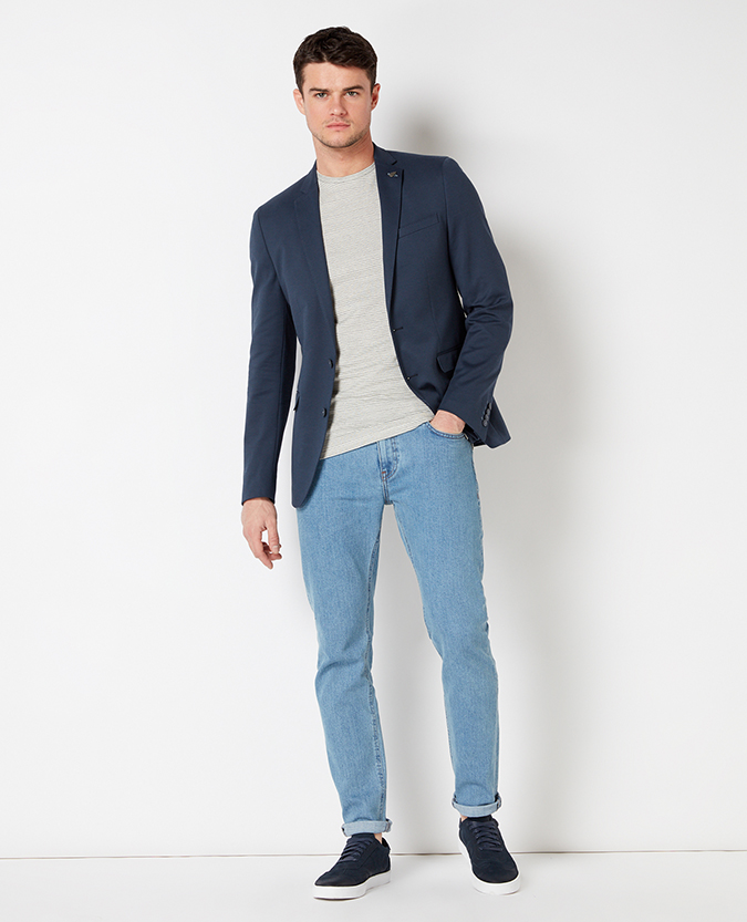 Slim Fit Cotton-Blend Casual Suit Jacket