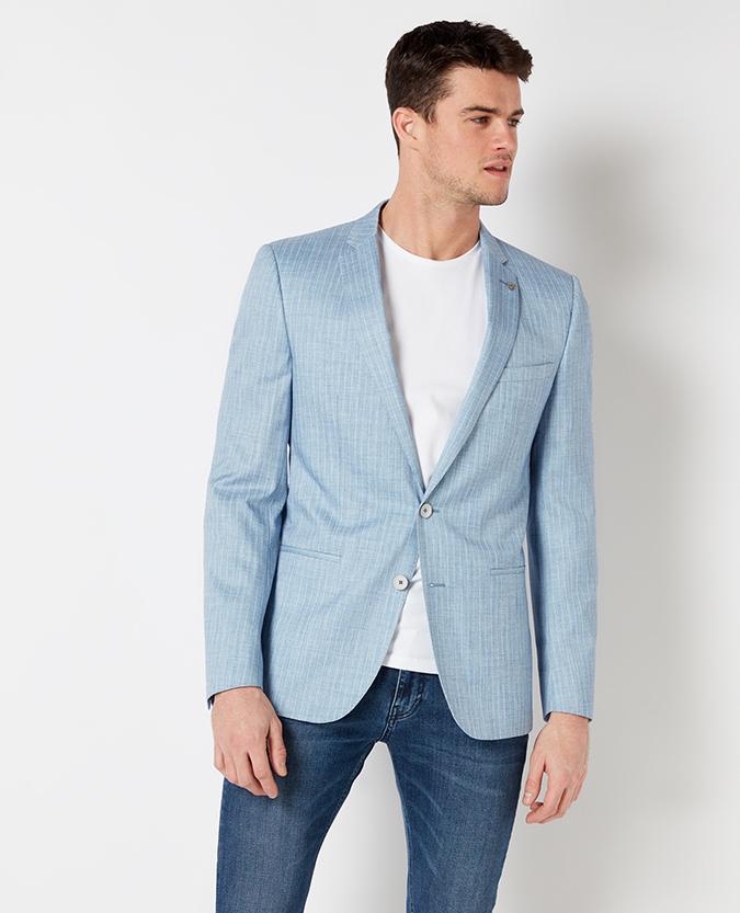 Slim Fit Pinstripe Casual Suit Jacket