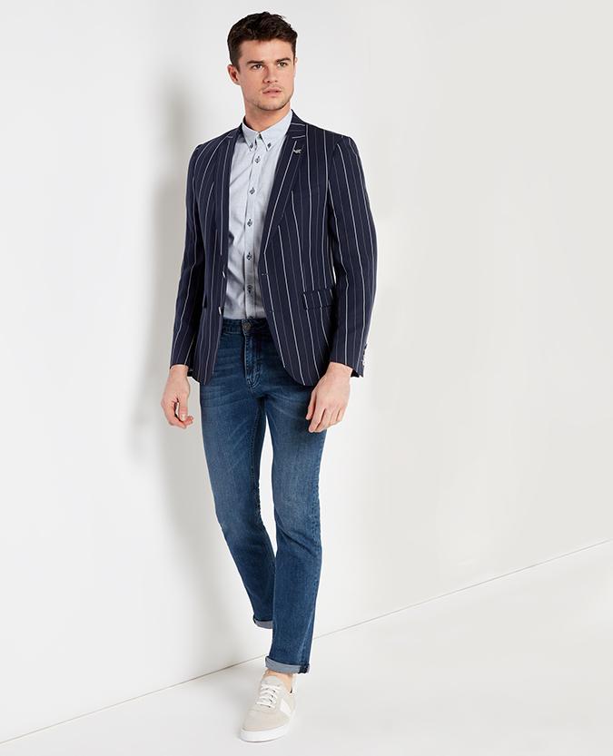 Slim Fit Striped Tencel Linen-Blend Jacket