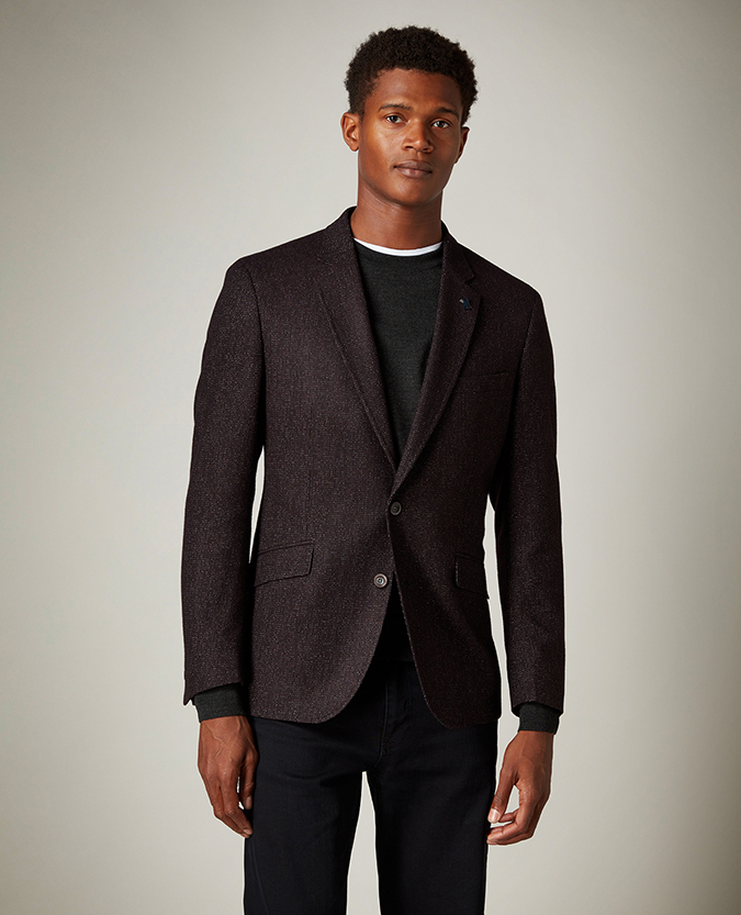 Tapered Fit Wool Blend Jacket