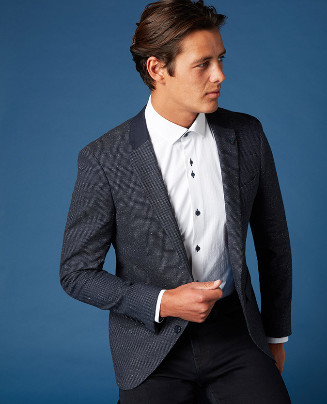 Slim Fit Micro-Check Jacket
