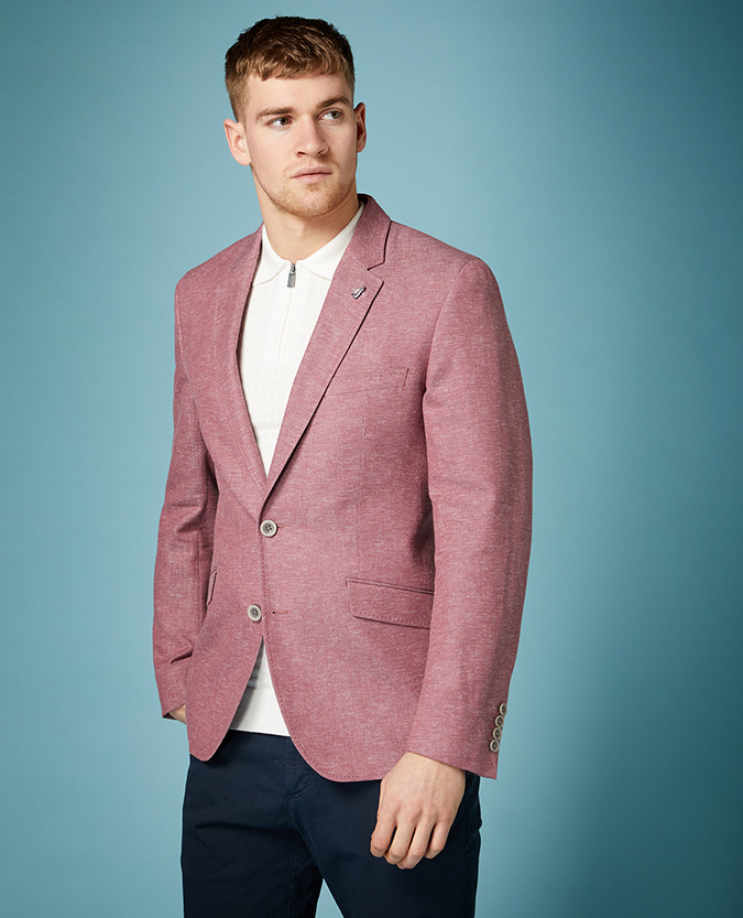 Tapered Fit Linen-Blend Jacket