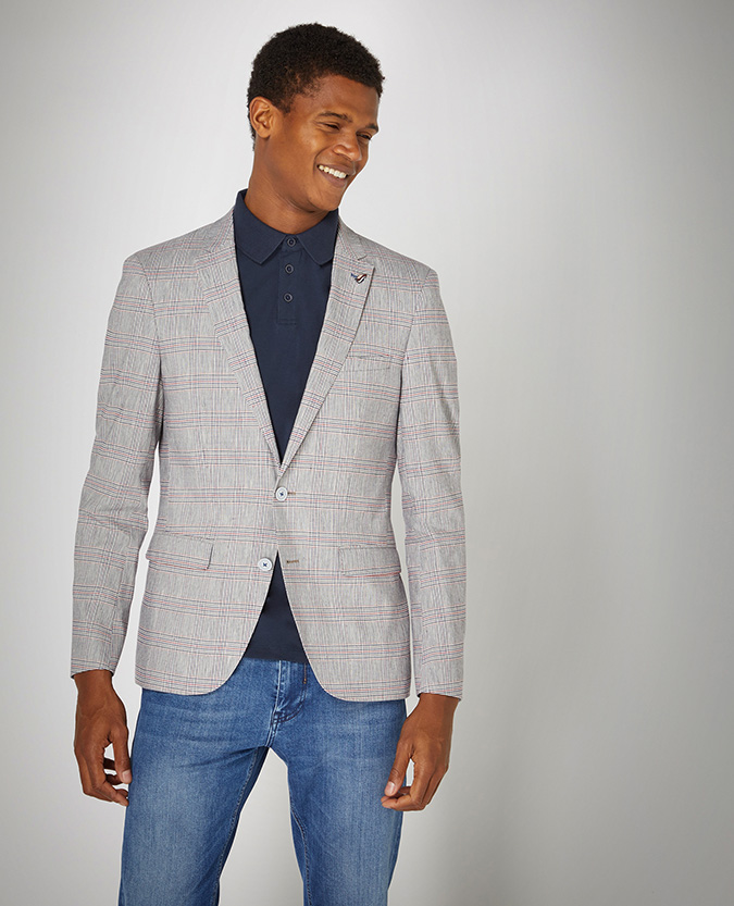 Slim Fit Linen-Blend Stretch Jacket