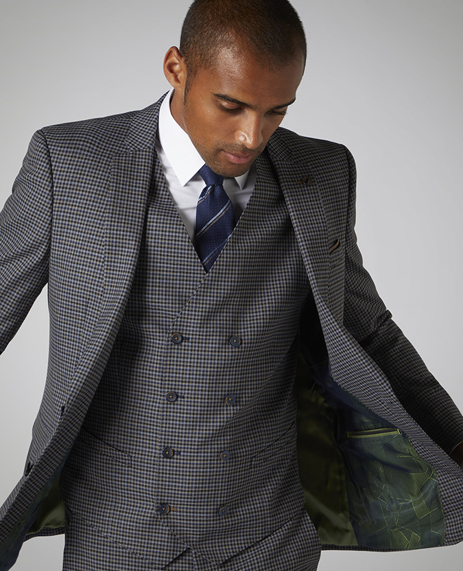 X-Slim Fit Checked Stretch Mix and Match Suit