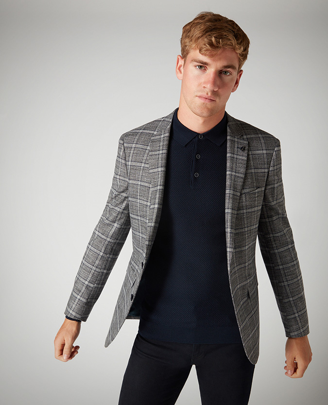 Slim Fit Stretch Checked Jacket