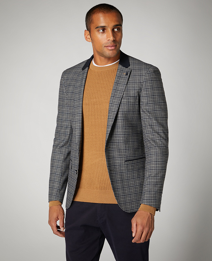 Slim Fit Checked Stretch Jacket