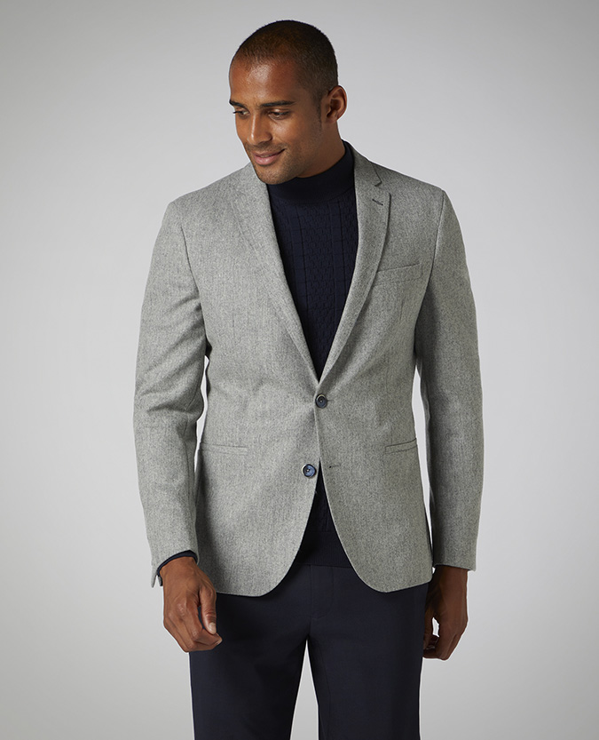 Tapered Fit Wool-Blend Jacket